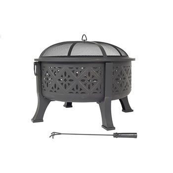 Extra image of Moroccan Pattern Deep Bowl Firepit With Grill