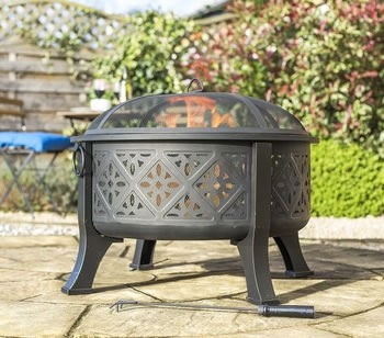 Image of Moroccan Pattern Deep Bowl Firepit With Grill