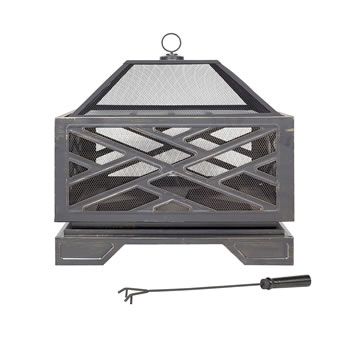 Extra image of La Hacienda Square Brushed Bronze Effect Deep Steel Firepit BBQ Grill