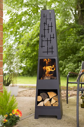 Image of Oxford Barbecues Cherwell Chiminea, Black, 36 x 36 x 151 cm