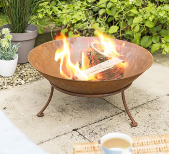 Image of La Hacienda Ipata Oxidised Cast Iron Firepit with Steel Stand