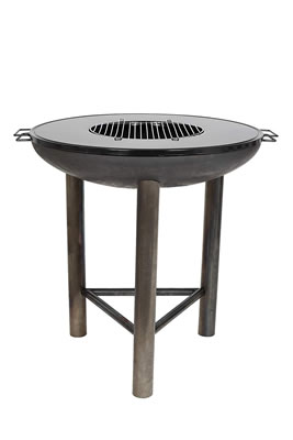 Image of La Hacienda Firebowl Pittsburgh L - Diameter 80 cm - Fire Pit BBQ Plancha Grill with Black Plate