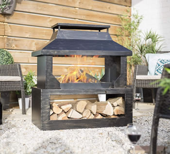 Image of La Hacienda Stonehurst Steel Outdoor  Fireplace