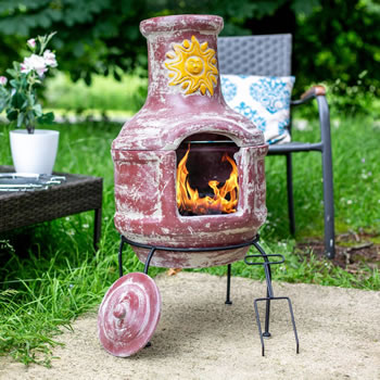 Image of Oxford Barbecues Aurora Clay Chiminea With BBQ Grill And Pizza Stone