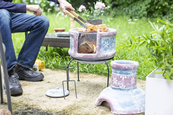 Image of Oxford Barbecues Pershore Clay Chiminea With BBQ Grill
