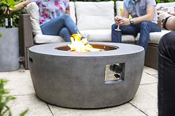 Image of La Hacienda Orlando Magnesia Smooth Cement Effect Gas Firepit 40,000 BTU