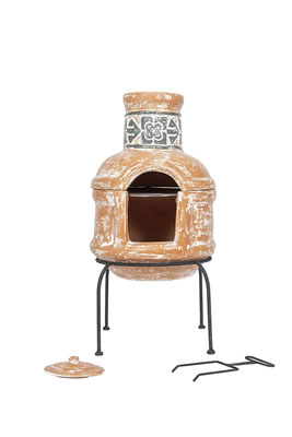 Image of La Hacienda 75cm High Patron Chiminea Chimenea + BBQ Grill