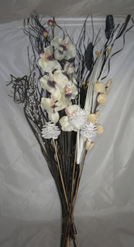 Image of Blackgrass & White Orchid Bouquet