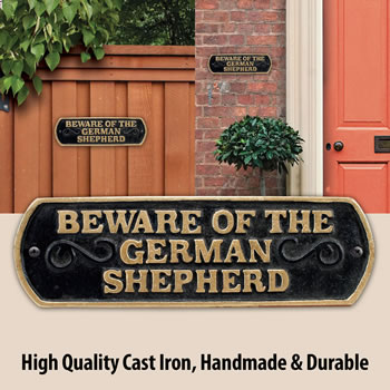 Image of Beware Of The German Shepherd Cast Iron Landscape