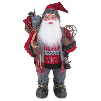 Image of Cheng Kuo 61cm Standing Santa with a Red Pullover and Grey Scarf (CK615-E126)