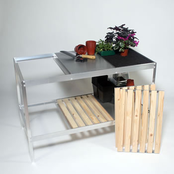 Image of Clearspan Greenhouse Bench with aluminium trays - 178cm x 58.5cm