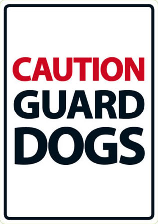 Image of Caution Guard Dogs A5 Plastic Sign