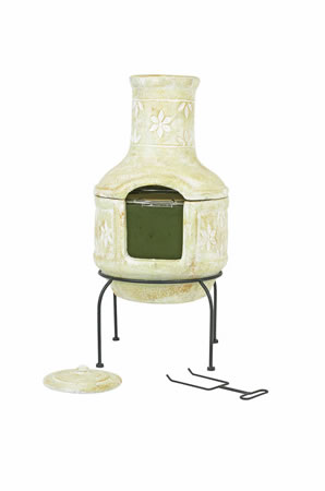 Image of Large Clay Flower Pizza Chiminea w. BBQ Grill Patio Heater Wood Burner