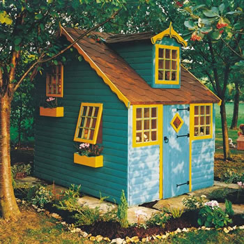Image of Shire - Cottage Wooden Playhouse (8' x 6') Two Storey