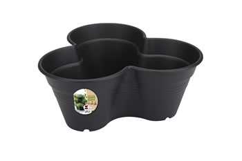 Image of Elho Growset Stacking Herb Strawberry Flower Plant Pots in Anthracite