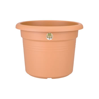 Image of Elho Green Basics Cilinder Plant Pot Terracotta 25cm Recycled Stable