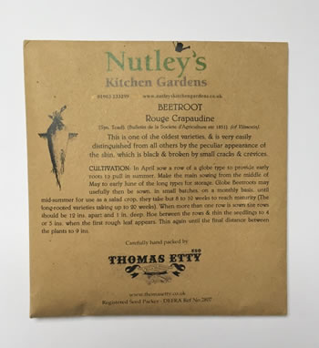 Image of Nutley's Thomas Etty Rouge Crapaudine Beetroot Garden Growing