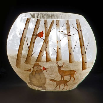Image of SnowTime 16.5cm Oval Glass Vase with Woodland Snowman Scene (IF01654)
