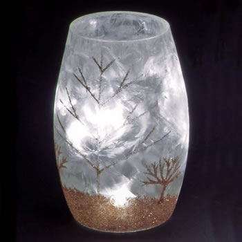 Image of SnowTime 13cm Lit Glass Vase with Glittery Gold Winter Scene (IF01659G)