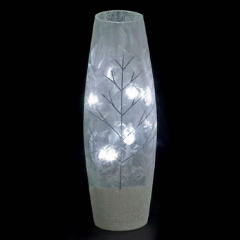 Image of SnowTime 30cm Slim Glass Vase with Glittery Silver Winter Scene (IF01660)
