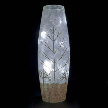 Image of SnowTime 30cm Slim Glass Vase with Glittery Gold Winter Scene (IF01660G)