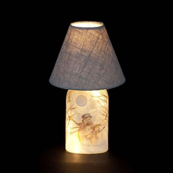 Image of SnowTime 61cm Lamp with Glass Base and Snowmen Design (IF01827)
