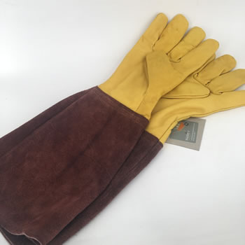 Image of Nutley's Leather Bramble Gauntlet Gloves Gardening Heavy Duty