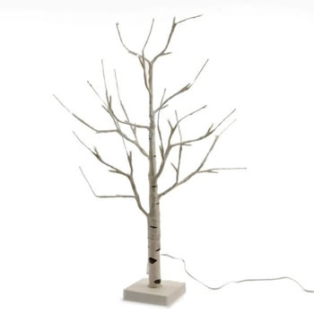 Image of Lumineo Cool White LED White Outdoor Birch Tree - 180cm (499177)