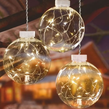 Image of Premier 3 x 10cm Balls with Warm White Pin Wire LEDs and Timer (LB151219WW) Christmas Lights