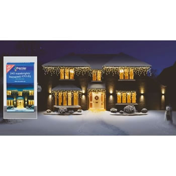 Image of Premier 240 Warm White LED Snowing Icicles (LV062392WW) Christmas Lights