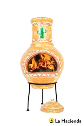 Extra image of La Hacienda Large Cardon Cactus Design Clay Chiminea Patio Heater