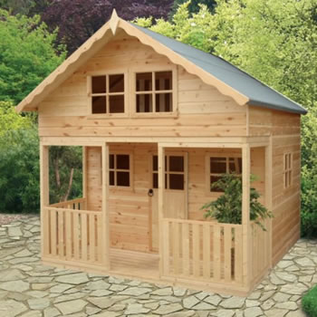 Image of Shire - Lodge Wooden Playhouse (8' x 9') Two Storey