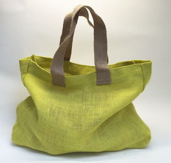 Image of 2 Nutley's Citrus Yellow Fairtrade Hessian Bag with Handles Harvesting