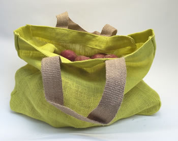 Extra image of 2 Nutley's Citrus Yellow Fairtrade Hessian Bag with Handles Harvesting