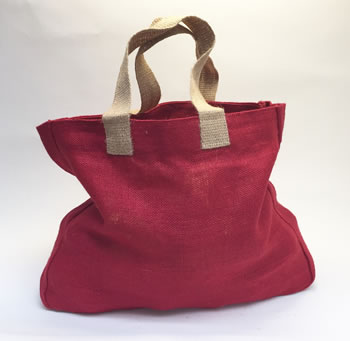 Image of 5 x Nutley's Raspberry Red Hessian Bag with Handles Harvesting