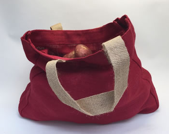 Extra image of 5 x Nutley's Raspberry Red Hessian Bag with Handles Harvesting