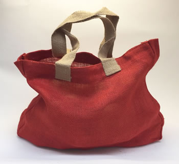 Image of 5 x Nutley's Tomato Red Hessian Bag with Handles Harvesting