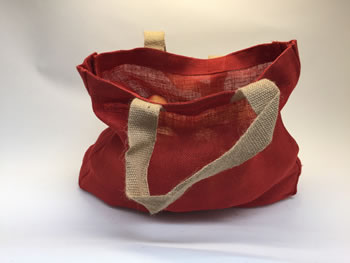 Extra image of 5 x Nutley's Tomato Red Hessian Bag with Handles Harvesting