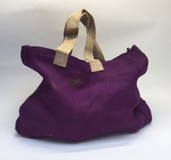 Image of Nutley's Aubergine Hessian Bag with Handles Harvesting