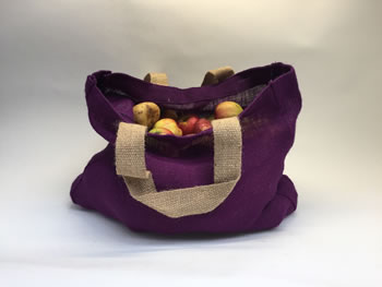 Extra image of Nutley's Aubergine Hessian Bag with Handles Harvesting