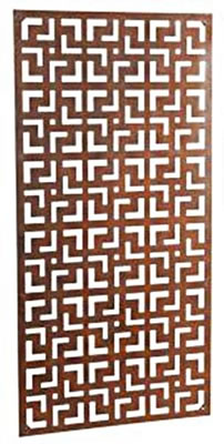 Image of Wonderful steel rustic garden metal screen 1.8m tall in a geometric tile design - ideal for a screen fence or wall mounting and climbing plants!