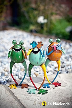 Image of La Hacienda 'No Evil' Frogs (Set Of 3) Garden Decorative Animal Frogs Ornament