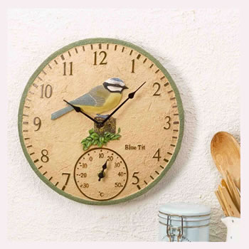 Image of Blue Tit Outdoor Clock and Thermometer