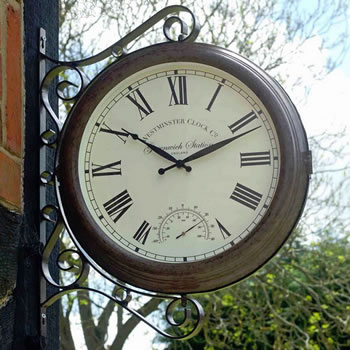Image of Greenwich Double Sided Station Clock & Thermometer