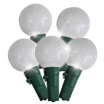 Image of Festive 'Look No Plug' 50 Pure White LED G24 Faceted Globe Christmas Lights (P003347)