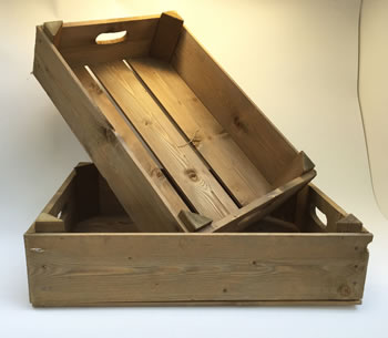 Image of Nutley's Honey Pine Half Bushel Box Hand Made Garden Rustic