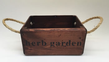 Image of Nutley's Small Oak Hand Made Bushel Box Herb Garden Rustic