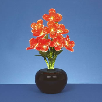 Image of Premier Decorations 40cm Fibre Optic Red Begonia Flower (FT141014)