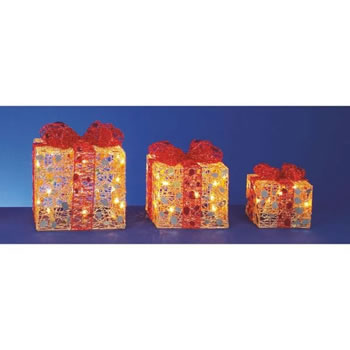 Image of Premier 3 Gold Parcels with Red Bow and Fairy Lights (LI112042G)