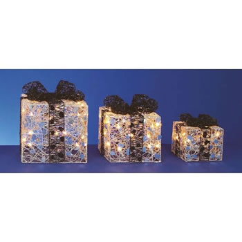 Image of Premier 3 Silver Parcels with Black Bow and Fairy Lights (LI112042S)